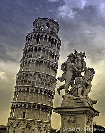 Free Pisa Tower And Statue Stock Photo - 4876370