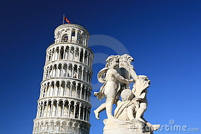 Pisa tower and statue in blue