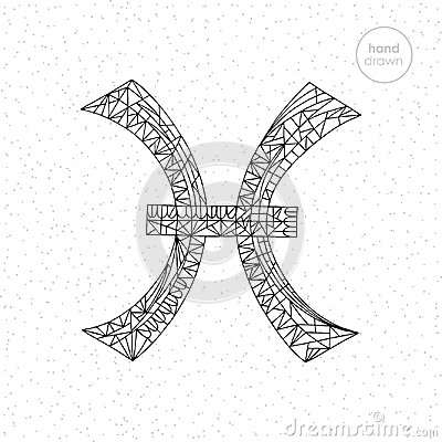 Pisces zodiac sign collection. Vector hand drawn horoscope series illustration. Astrological coloring page. Vector Illustration