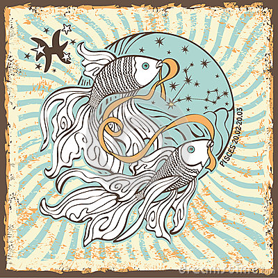 Free Pisces Zodiac Sign.Vintage Horoscope Card Royalty Free Stock Image - 40566136
