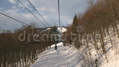 Pista de esqui Mont Tremblant do elevador de cadeiras filme