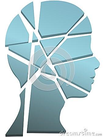 Pista de la persona del concepto de la salud mental en pedazos