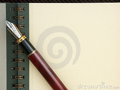 Pista de nota, pluma y espacio de la copia