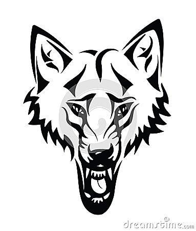 Pista de un lobo con tribal