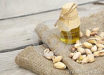 Pistachio nuts oil Stock Photo