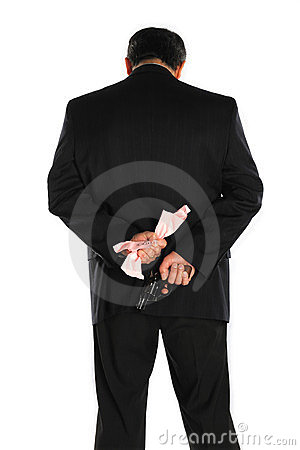 Pistol behind the suit
