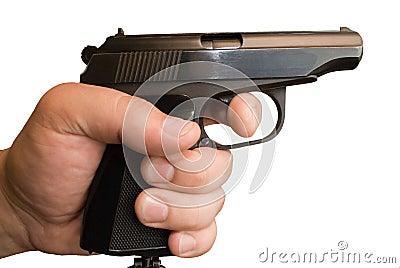 Pistol in a hand