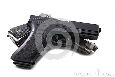 Pistols on a white background