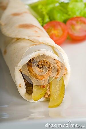 Pita bread chicken roll