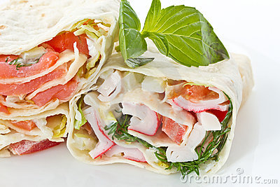 Pita stuffed with fish