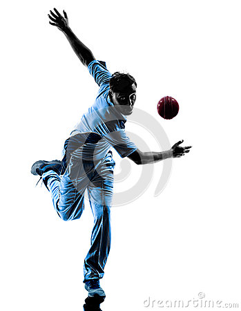Free Pitcher Cricket Player Silhouette Stock Photography - 45394142