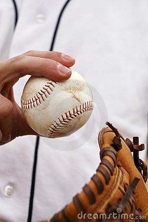Pitcher Demonstrates His Baseball Grip