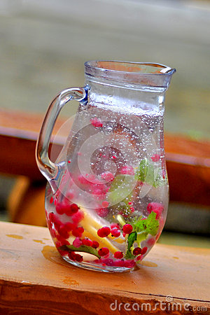 Free Pitcher Of Water And Fruit. Stock Images - 42361724