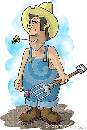 Pitchfork farmer Cartoon Illustration