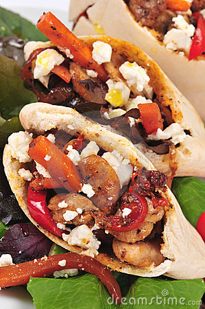 Pitta bread filled with a chicken and vegetables