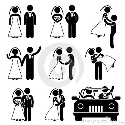 Pittogramma di unione dello sposo della sposa di cerimonia nuziale