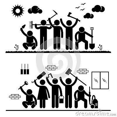 Pittogrammi del volontario di umanità della gente