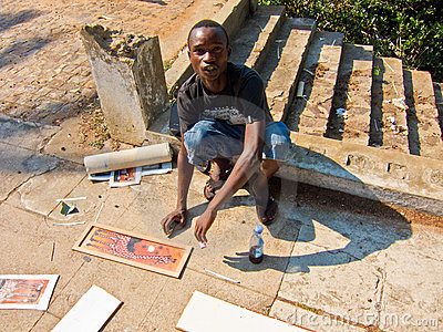 Pittore della via nel Mozambico Fotografia Editoriale
