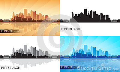 Pittsburgh city skyline silhouettes set