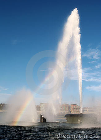 Free Pittsburgh Fountain And Rainbow Stock Photos - 19489633