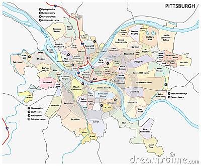Pittsburgh Neighborhood Map Stock Vector Image 48107115