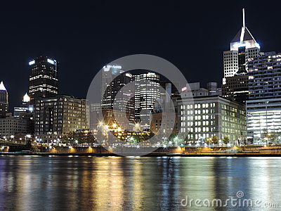 Downtown Pittsburgh Pennsylvania Skyline Night Editorial Photo