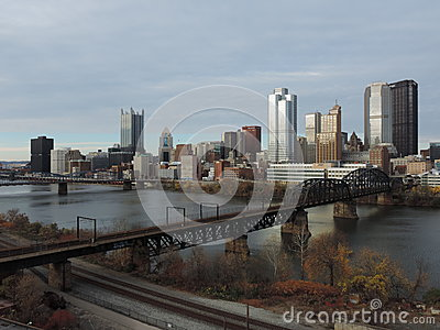 Pittsburgh Skyline from Liberty Bridge Editorial Stock Image