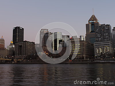 Pittsburgh Skyline at Sunset from PNC Park Editorial Stock Photo