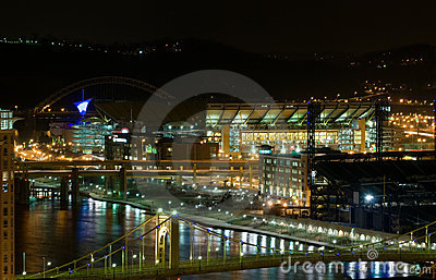 Pittsburgh waterfront at night