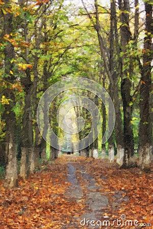 Pittura a olio con il vicolo degli alberi