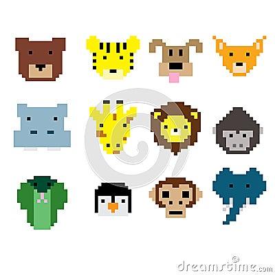 Pixel art animal faces