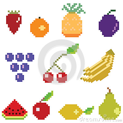 Pixel art fruit collection