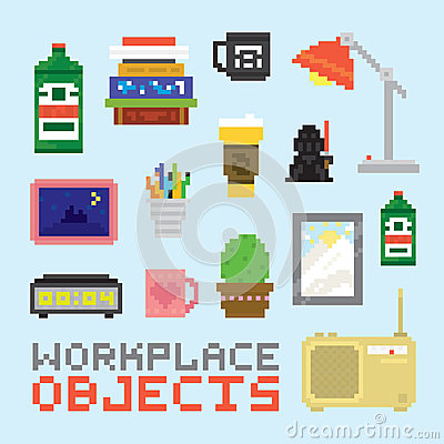 Free Pixel Art Isolated Office Tools Vector Set Royalty Free Stock Photo - 61891315
