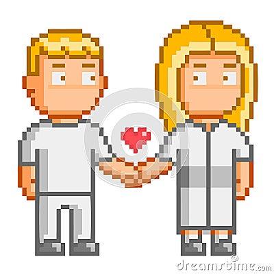 Pixel art people love you stock vector image 55323210 for Pixel people interior designer