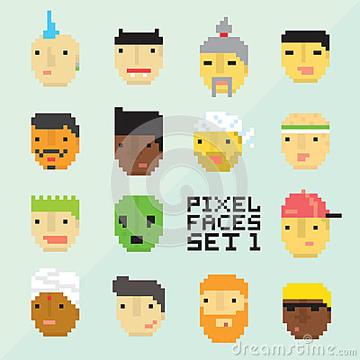 Free Pixel Art Style 15 Cartoon Avatar Faces Vector Set 1 Stock Photos - 71902323