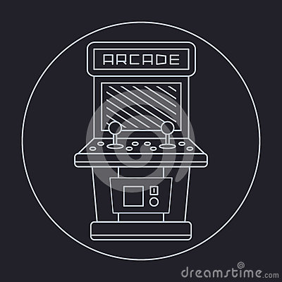 Pixel Art Style Simple Line Drawing Of Arcade Stock Vector