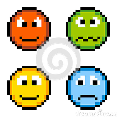 Pixel Emotion Icons - Angry, Sick, Happy, Sad Isolated on White