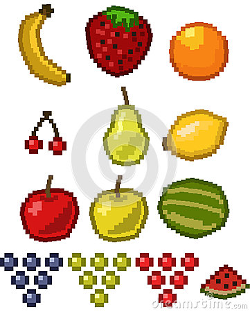 Pixel fruit icon set