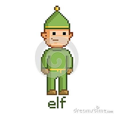 Pixel Funny Elf Stock Vector Image 54499797