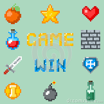 Free Pixel Games Icons For Web, App Or Video Game Interface Stock Image - 77861491