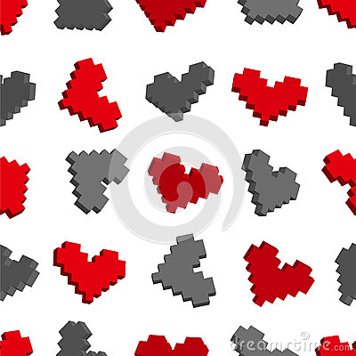 Pixel hearts seamless background pattern