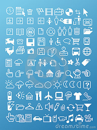 Free Pixel Icon Set Royalty Free Stock Images - 12806469