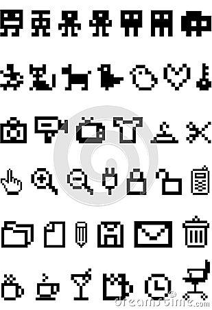 Free Pixel Icon Set Royalty Free Stock Photos - 8237228