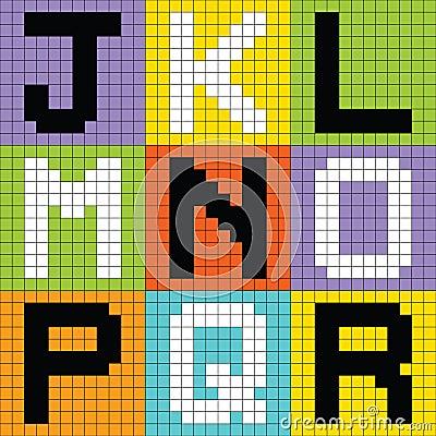 Pixel Letters Set 2: JKL MNO PQR