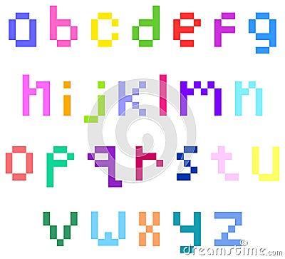 Pixel lower case alphabet