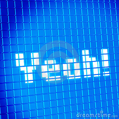 Pixel mesh lcd screen with Yeah