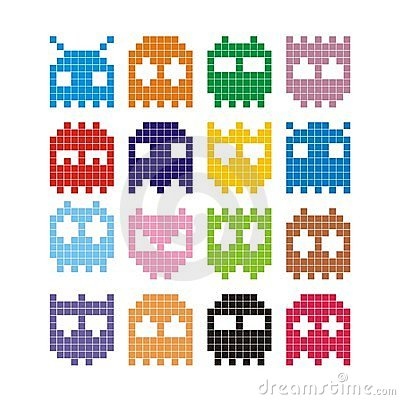 Free Pixel Monster Icons Royalty Free Stock Image - 18625026