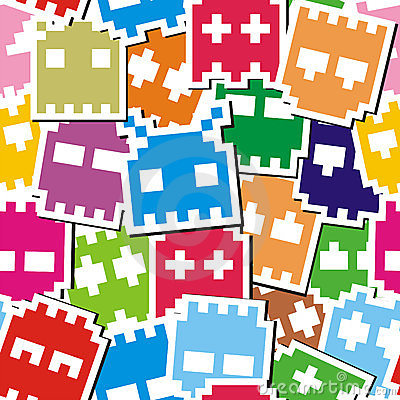 Free Pixel Monster Seamless Pattern Stock Images - 23197924