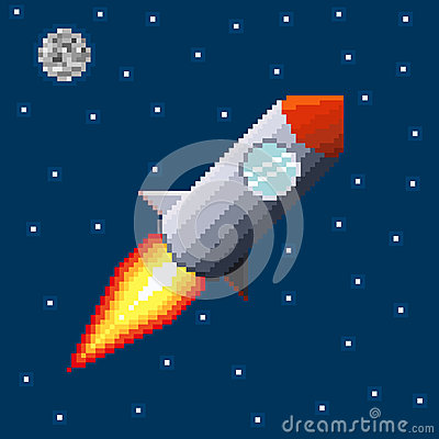 Pixel rocket in space
