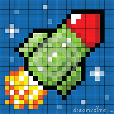 8-bit Pixel Rocket in Space